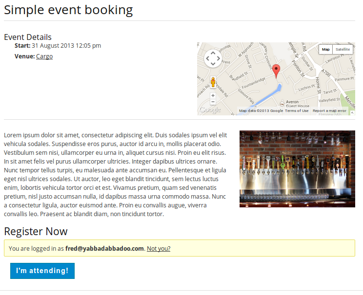 Screenshot of the the booking form which consists only of a registration button