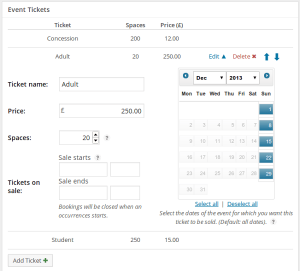 Screenshot showing the ticket option fields: ticket name, price, space, dates on sale and dates for which the ticket can be purchased