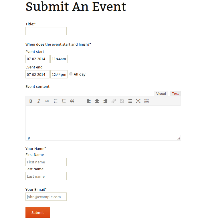 An event submission form in the TwentyThirteen theme