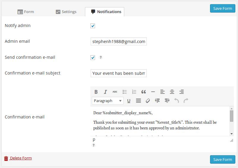 Form customiser, notifications tab