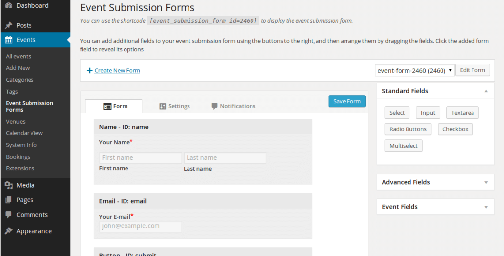 Screenshot of the form customiser